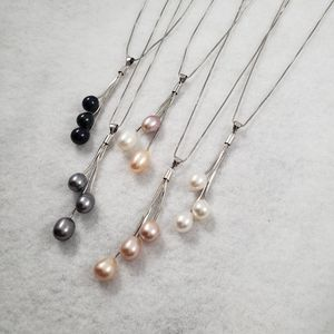 Sterling Three Pearl Necklace